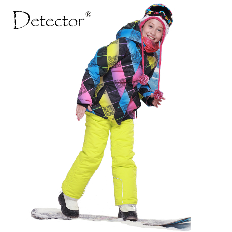 Detector Girls Ski Set Children Waterproof Windproof Clothing Kids Ski Set Winter Warm Snowboard Outdoor Girl Ski Jacket detector boys ski jacket children waterproof windproof clothing kids ski set winter warm snowboard outdoor ski suit boys ski set
