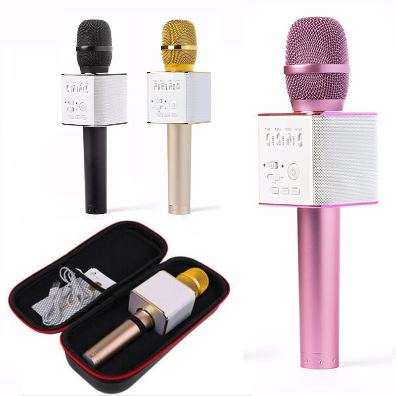 Brand brand MicGeek Q9 Phone Magic Karaoke Player bluetooth wireless Microphone Speaker Family party KTV Set For Iphone Android