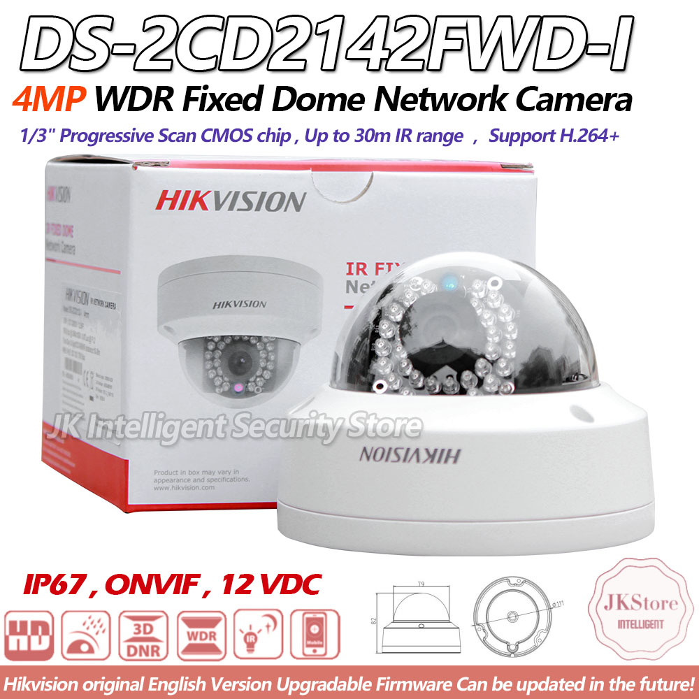 Hikvision English Version DS 2CD2142FWD I 4MP IP Housing Dome CCTV Camera 1080P POE Security Cheap