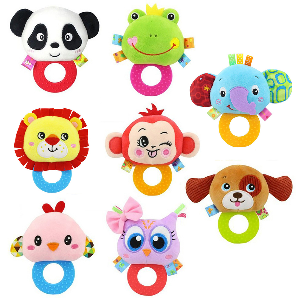 New Design Plush Baby Toy Animal Hand Bells Baby Rattle Toys Cartoon Animal Newbron Gift Animal Style Free Shipping