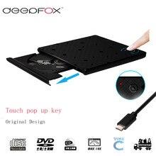 Deepfox – graveur de CD/DVD RW USB 3.1 de Type C, lecteur optique externe pour ordinateur portable avec interrupteur tactile inductif