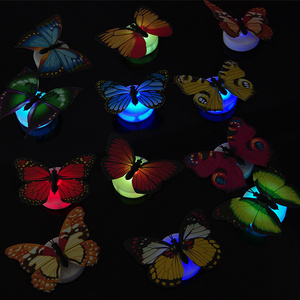Image 2 - 5pcs Luminous Butterfly lamp Night light Flashing Colorful wall lamp chuck and stickers Indoor lighting party supplies
