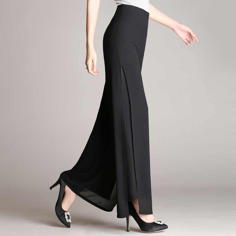 Hot sale summer new female wide leg pants womens high waist double layers Split chiffon pants loose black elegant dance trousers