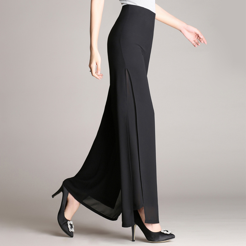2018 spring/summer new female   wide     leg     pants   women's high waist size double chiffon   pants   loose black elegant dance trousers