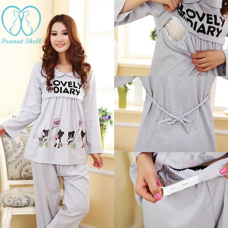 538# Lovely Printed Maternity Breast Feeding Pajamas ...
