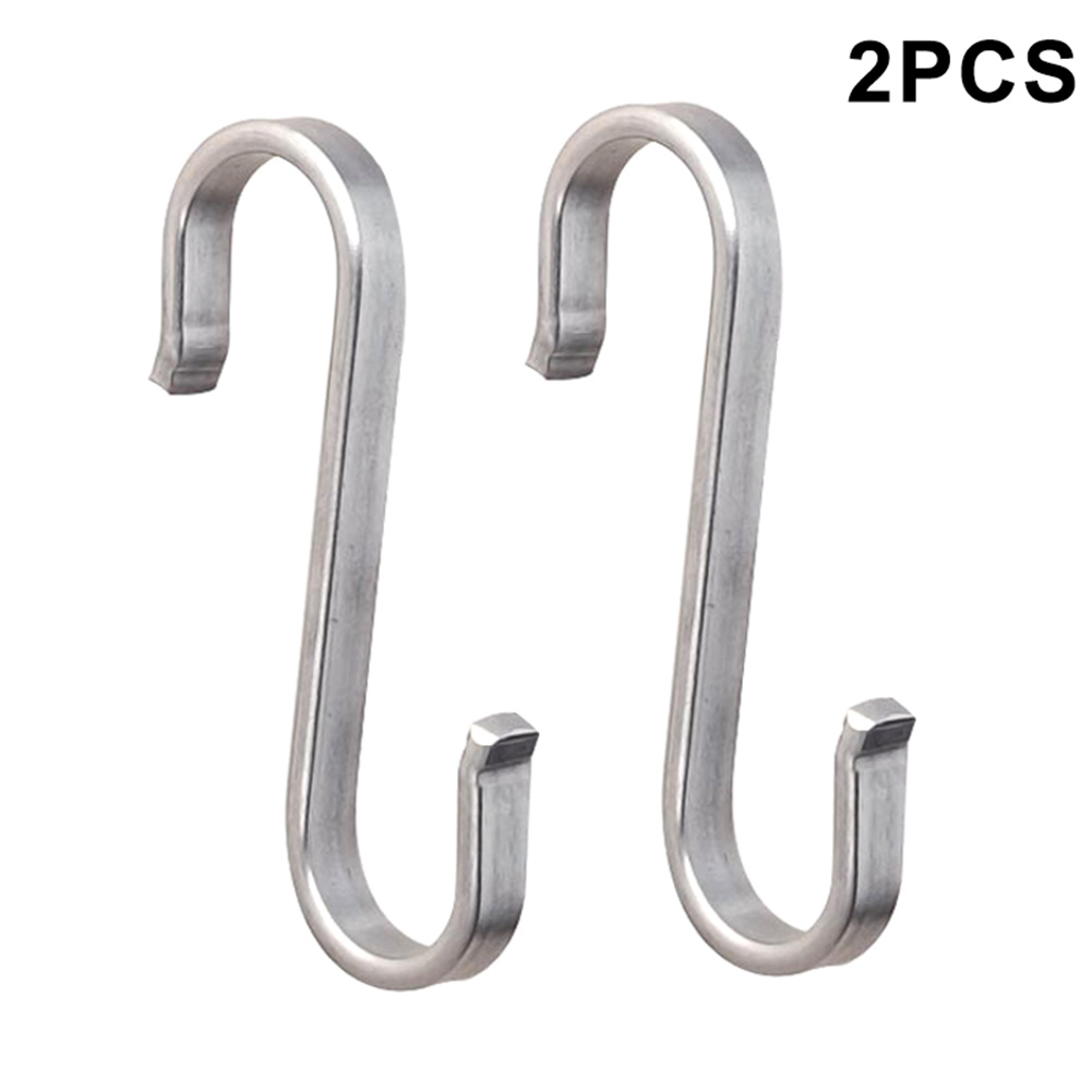 New Hot 2 Pcs Stainless Steel S Hooks Hanging Clothes Umbrella Kitchen Sundries Hanger SMD66