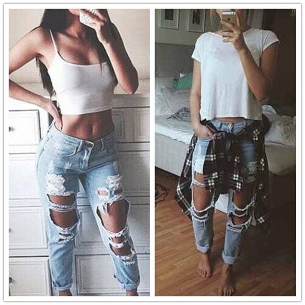 Street Chic de Jeans Rasgados Lavados Casual Agujeros Boyfriend Jeans para Mujeres  Pantalones Vaqueros Rasgados Denim d0e9dfc79677