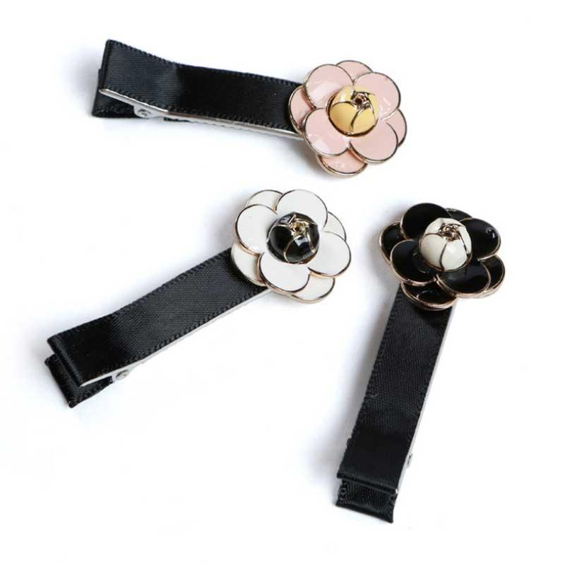 New Arrival Small fragrant Camellia Scrunch Hairpin Korean fashion Black white rose headbands