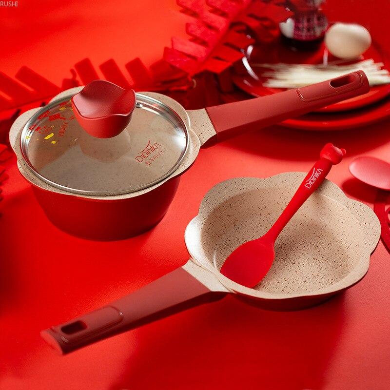 Pot de nourriture auxiliaire bébé mini pot de lait pour enfants blé riz pierre petit pot de lait poignée unique pot de cuisson antiadhésif