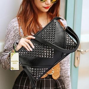 Image 5 - High Quality BLACK WOMEN LEATHER HANDBAGS Rivet stud crossbody bags female women messenger bags purses and handbags shoulder bag