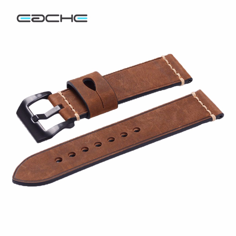 Handmade New watch band Genuine Leather Wristband Straps Silver Brushed  Buckle or Plating black buckle  Bracelets 24mm new mens genuine leather watch strap bands bracelets black alligator leather 18mm 19mm 20mm 21mm 22mm 24mm without buckle