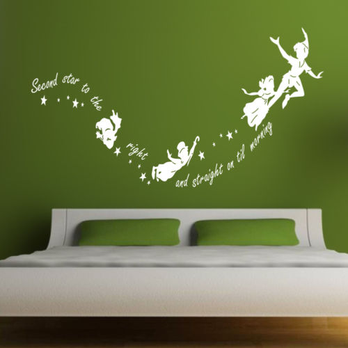 Tinkerbell second star to the right Peter pan wall decal sticker kids art mural
