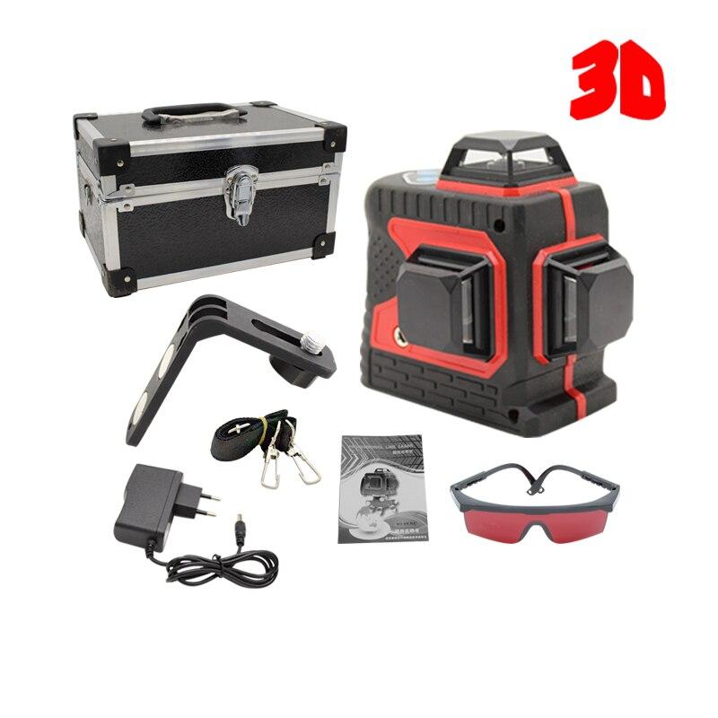 Grand et Fort 3D 12 Lignes Niveau Laser Lignes Épaisses Auto-Nivellement 360 Horizontal Et Vertical Croix Super Puissant Rouge laser Faisceau