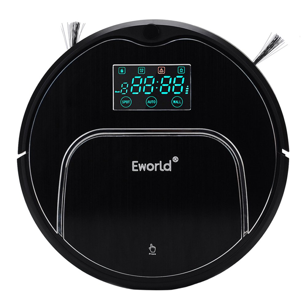 Eworld Vacuum Cleaners M883 Touch-Sensitive Auto Recharge Auto-Cleaning Anti-Fall Sensor With Big <font><b>Mop</b></font> Vacuum Cleaner Robot Black
