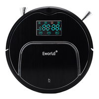 Eworld Vacuum Cleaners M883 Touch Sensitive Auto Recharge Auto Cleaning Anti Fall Sensor With Big Mop Vacuum Cleaner Robot Black