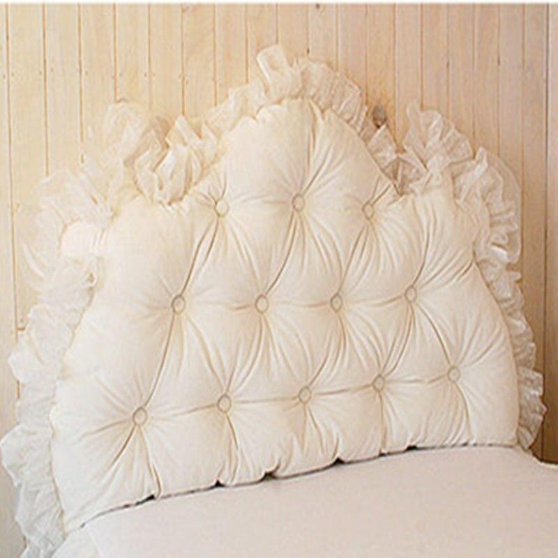 Романтический твердые белый/розовый кружева принцесса благородство Кровать Подушку постельные принадлежности подушки с подушкой core Удобн