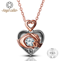 Angel Caller Real 925 Sterling Silver Heart Necklace Dancing Zircon Pendant Women Fashion Fine Jewelry Mother's Day Gift CYD041