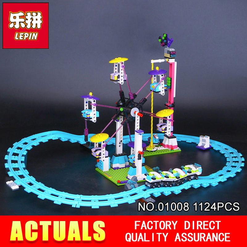 new LEPIN 01008 friends 1124pcs Amusement park roller coaster Model Building blocks Bricks Compatible Toy Christmas Gift 41130 loz friends motor building blocks roller coaster diy model rotary swing toys battery bricks amusement park blocks technic 2027
