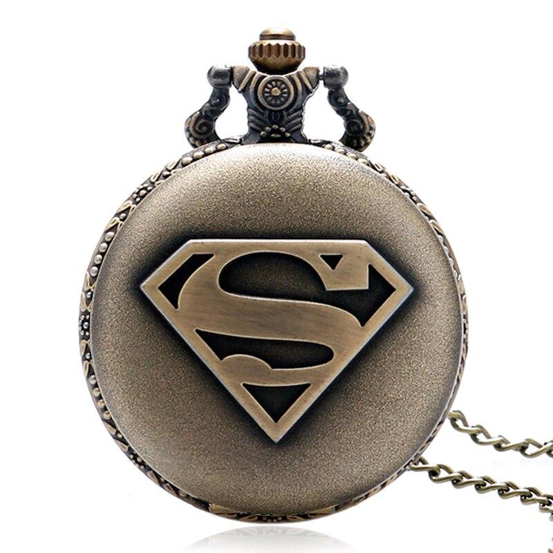 Online Sale Men Women Quartz Pocket Watch Classic Supermen Design Fob Watches Antique Bronze Pendant With Necklace