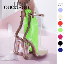 ODS Pvc Transparent Boots Sexy For Women Heels Gladiator Sandals Boots Womens Kim Kardashian Woman Shoes Clear Chunky Mujer 9 10 недорого