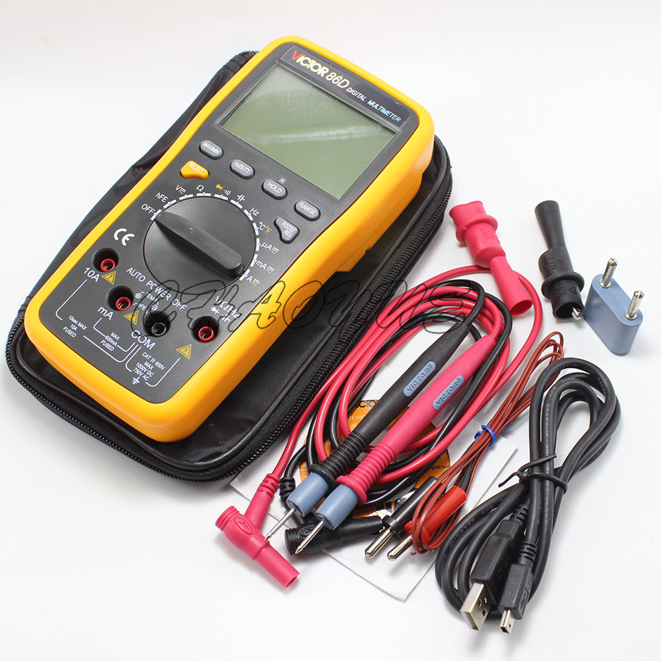 Victor VC86D Digital Multimeter Meter meter with RS232 and USB jack Temperature / frequency / with computer interface victor 6056d digital clamp meter