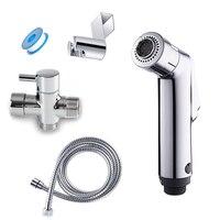 Two Function Toilet Hand Bidet Faucet Bathroom Bidet Shower Sprayer Brass T Adapter 1 2m Hose