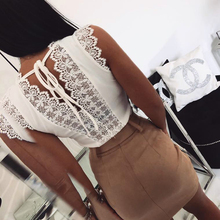 Kimuise sexy backless v neck lace t-shirts off the shoulder casual slim summer top shirts solid 2019 harajuku