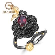 GEMS balet 925 Sterling Silver Handmade Design regulowany otwarty pierścień 1.00Ct naturalny granat Rose pierścienie kwiatowe dla kobiet Bijoux