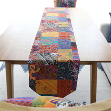 Vintage Bohemia National Linen Table Runner Tassel Cover Tablecloth for Wedding Party Banquet Hotel Home Decoration