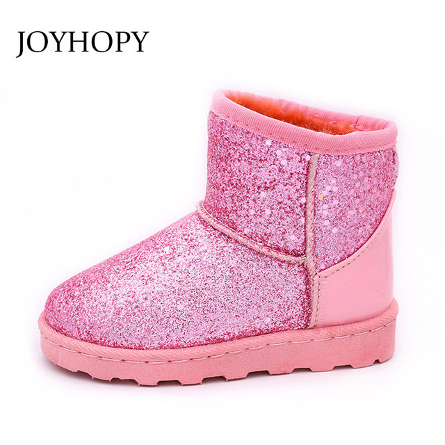 9248cc98474f Kids Girl Winter Boots Toddler Girls Snow Shoes Thick Warm Winter Princess  Sequins Children Shoes SIZE 25-36