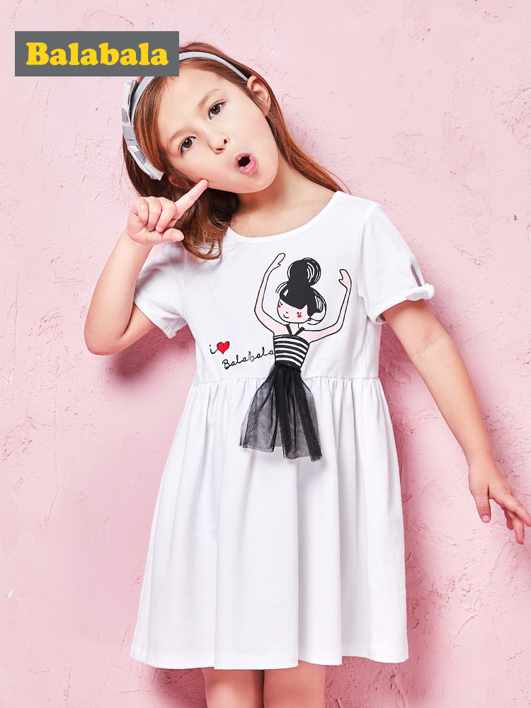 Balabala New 2019   Girls   Summer   Dress   Kids Clothes   Girls   Party   Dress   Children Clothing Princess   Flower     Girl     Dresses   Hot Sale