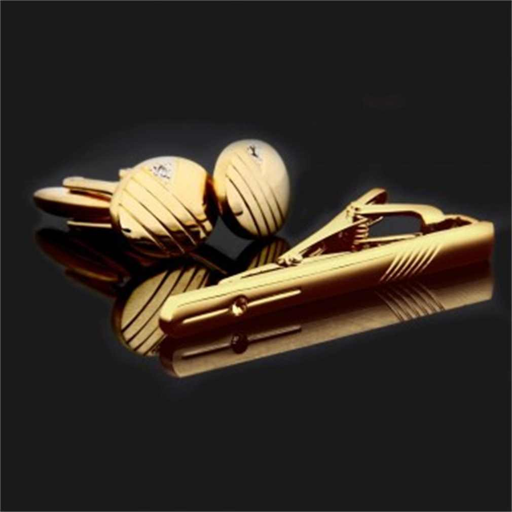 Gentleman Men Cuff Links Stainless Steel Gold Business Cutting Line Tie Clip and Cufflinks Set Hot Tie Clip Classic For Business