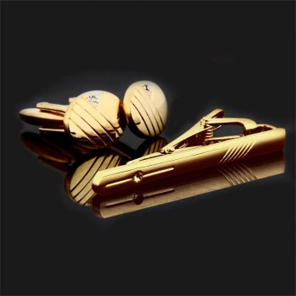 Gentleman الرجال الكفة الروابط الفولاذ المقاوم للصدأ الذهب الأعمال قطع خط التعادل كليب و أزرار أكمام مجموعة الساخن التعادل كليب الكلاسيكية للأعمال