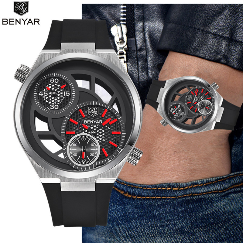 BENYAR Fashion Quartz Sport Mens Watches Top Brand Luxury Men's Watch Reloj Hombre 2017 Clock Male hour relogio Masculino цена и фото