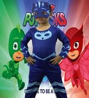 Selling Pj Cosplay Costume Catboy Owlette Gekko Cape Avec Masques Bracelet Cape Carnaval Costumes Pour Enfants