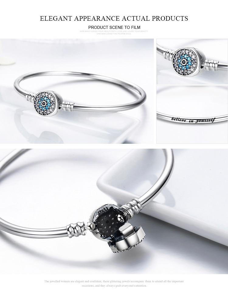 Pulseira 925 Sterling Silver Bracelet Femme Snowflake Heart Blue Eye Femme Snake Chain Bracelets & Bangles Women Jewelry 18