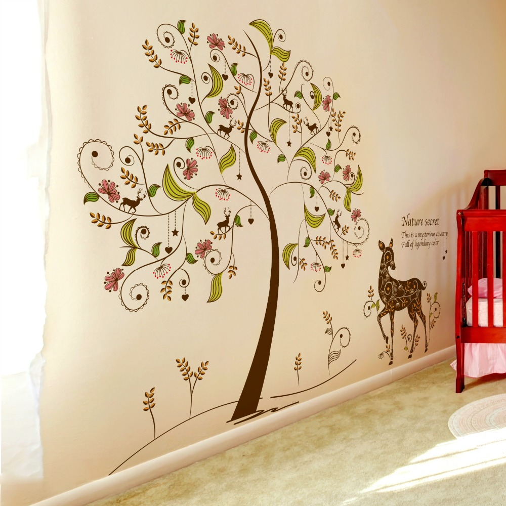 Pvc green material stickers color secret tree wall paste living room ...