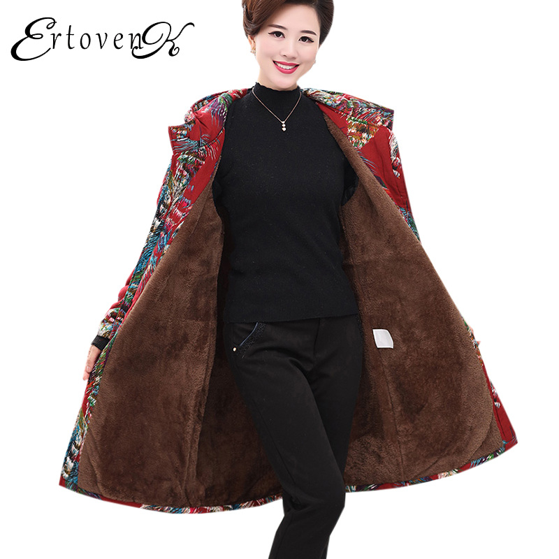 Middle age Women Long Coat 2017 Printing Winter New Hooded Feather Padded parkas Plus size Femmes Outerwear Cotton Jacket C63 lg 40lf630v