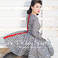 le palais vintage women spring 50s checked gingham long sleeve button up swing dress rockabilly pin up plus size 4xl vestidos