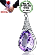 OMHXZJ jewelry woman girl Make a wish stone Drops water Amethyst 925 sterling silver pendant Charms PE36 ( NO Chain Necklace )