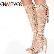 Enmayer tamaño 34-43 nueva sexy rodilla sandalias de gladiador de alta tacones Lace Up Suede Botas de Verano Tacones Finos Zapatos de la Danza Partido