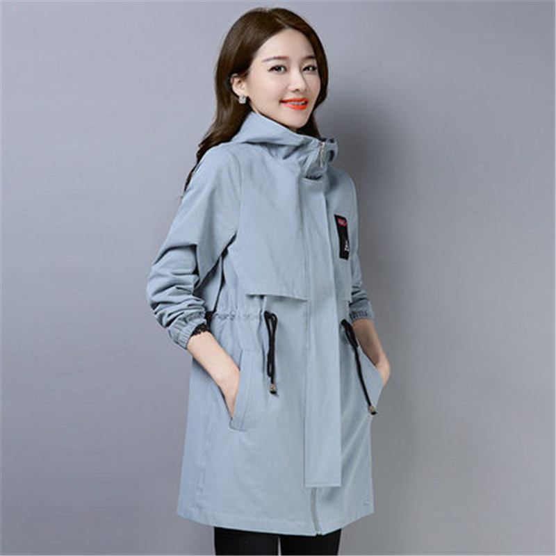 2019 new fashion Hooded Windbreaker Female Korean Loose Spring Autumn Long   Trench   Coat for Women Plus Size Overcoat X523