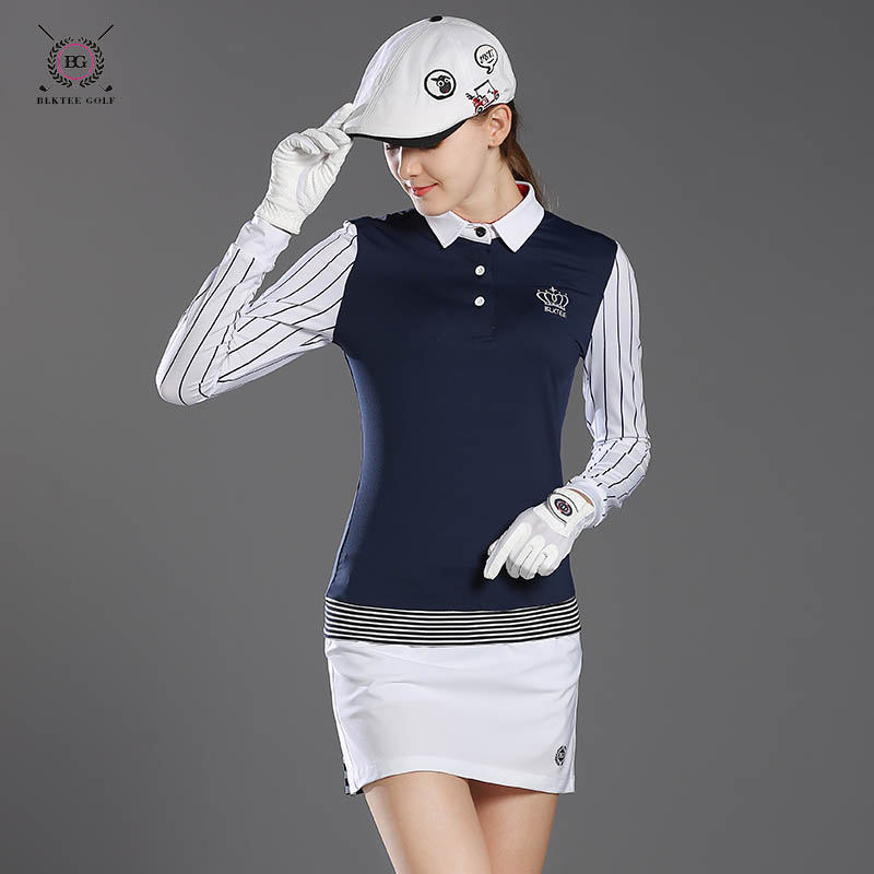 2017 Bg lady long-sleeve T-shirt womens autumn and winter sports polo shirt top girl golf training jersey white navy striped