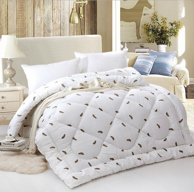 cotton shell goose down comforter quilted blanket feather - Queen Down Comforter