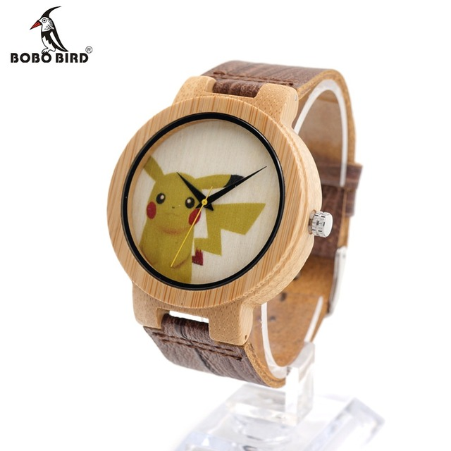 BOBO BIRD E09 Mens Montopia Pokemon Colorful Faces Design Brand Luxury Wooden Bamboo Watches With Real Leather Bands in Gift Box