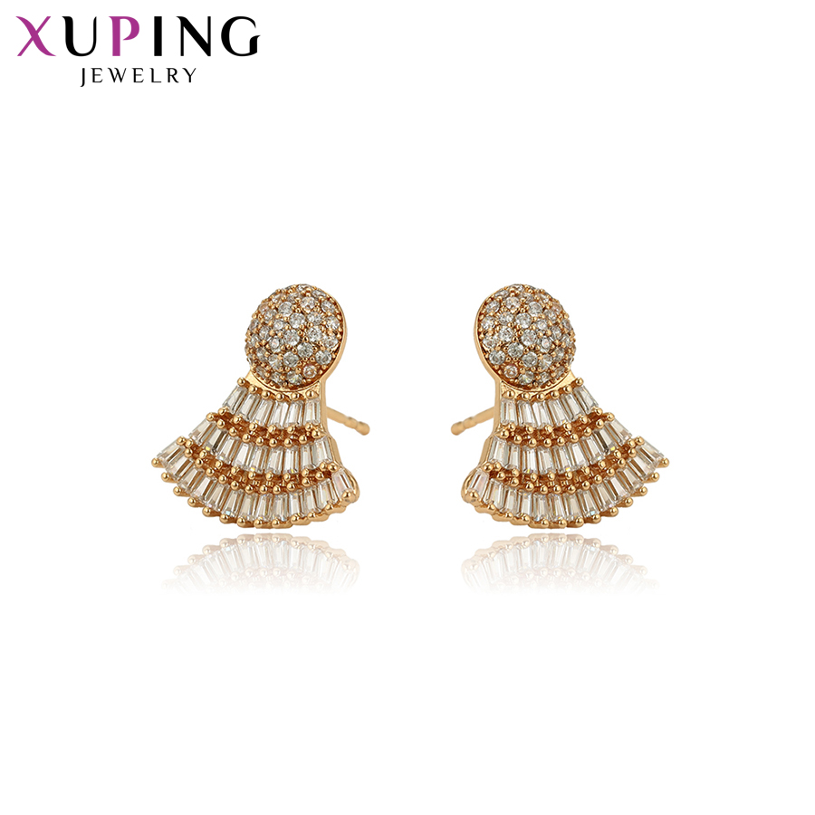 11.11 Deals Xuping Elegant Temperament Earrings for Women Sector Design Glod Color Plated Jewelry Thanksgiving Gift S101.5-97490 pair of elegant faux crystal sector earrings for women