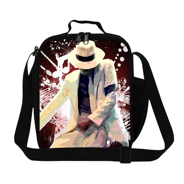 Dispalang personajes bolsos más frescos aislados loncheras de michael jackson con estilo personalizado familia caja de almuerzo de picnic bolsa de comida al por mayor