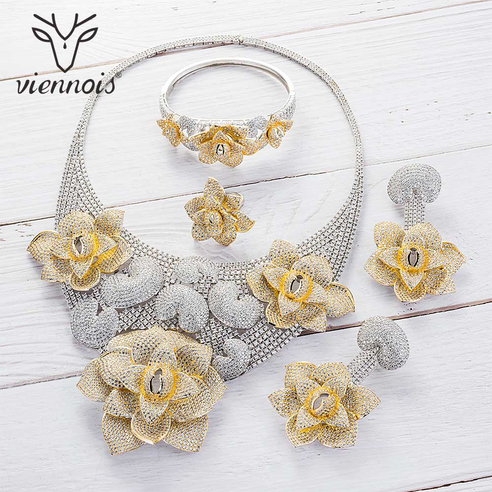 Viennois Silver Gold Mixed Color Necklace Set For Women Geometric Dangle Earrings Ring Bracelet Set Party