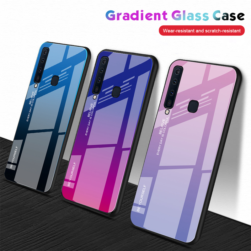 Tempered Glass Case For Samsung Galaxy A7 2018 A5 2017 J8 S9 S8 A6 A8 J6 J4 Plus 2018 Note 9 8 Protective Cover Coque Housing image