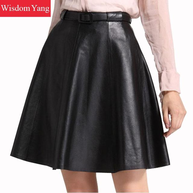 14503194b1 Black Red Real Sheep Skin Genuine Leather Skirt High Waisted Midi Skirts  For Women 2018 Long Casual Party Sexy Ladies Sundress